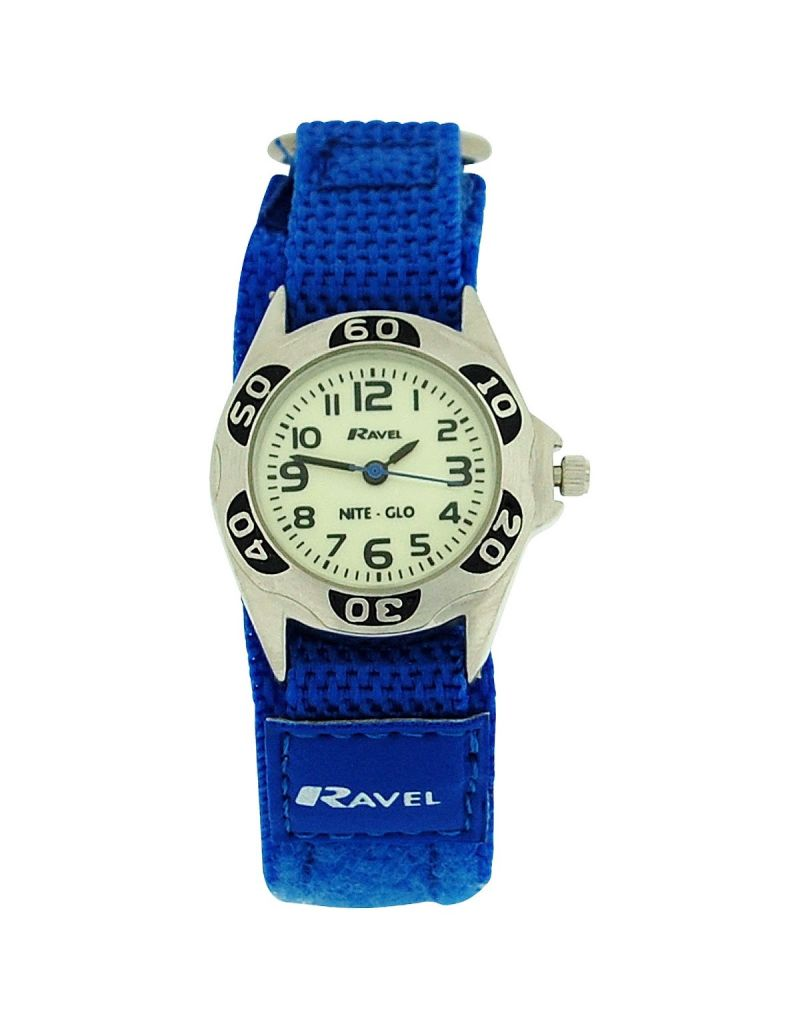 Ravel Boys Nite-Glo Quartz Luminous Dial Royal Blue Easy Fasten Watch R1704.16