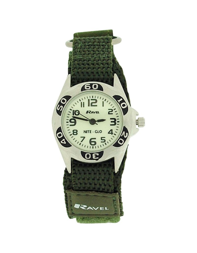 Ravel Boys Nite-Glo Quartz Lumnous Dial & Army Green Easy Fasten Watch R1704.21