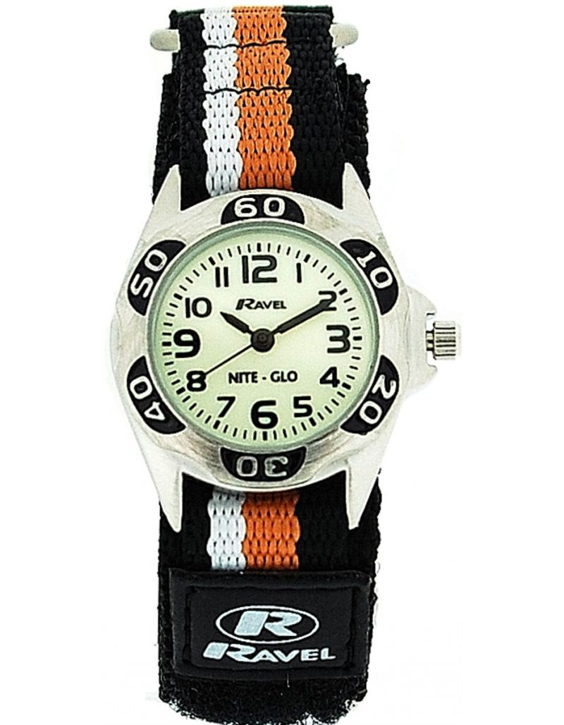 Ravel Nite-Glo Quartz Luminous Dial Black Orange Easy Fasten Boys Watch R1704.8