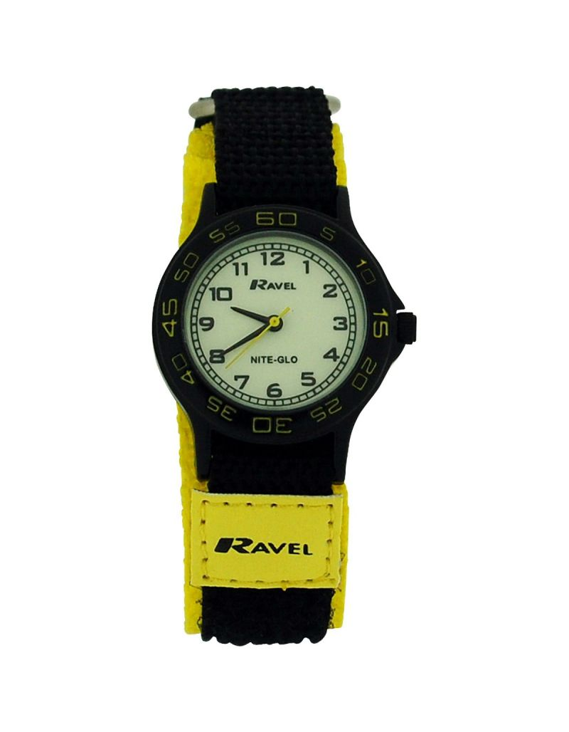 Ravel Nite-Glo Quartz Luminous Dial Black Yellow Easy Fasten Boys Watch R1706.9