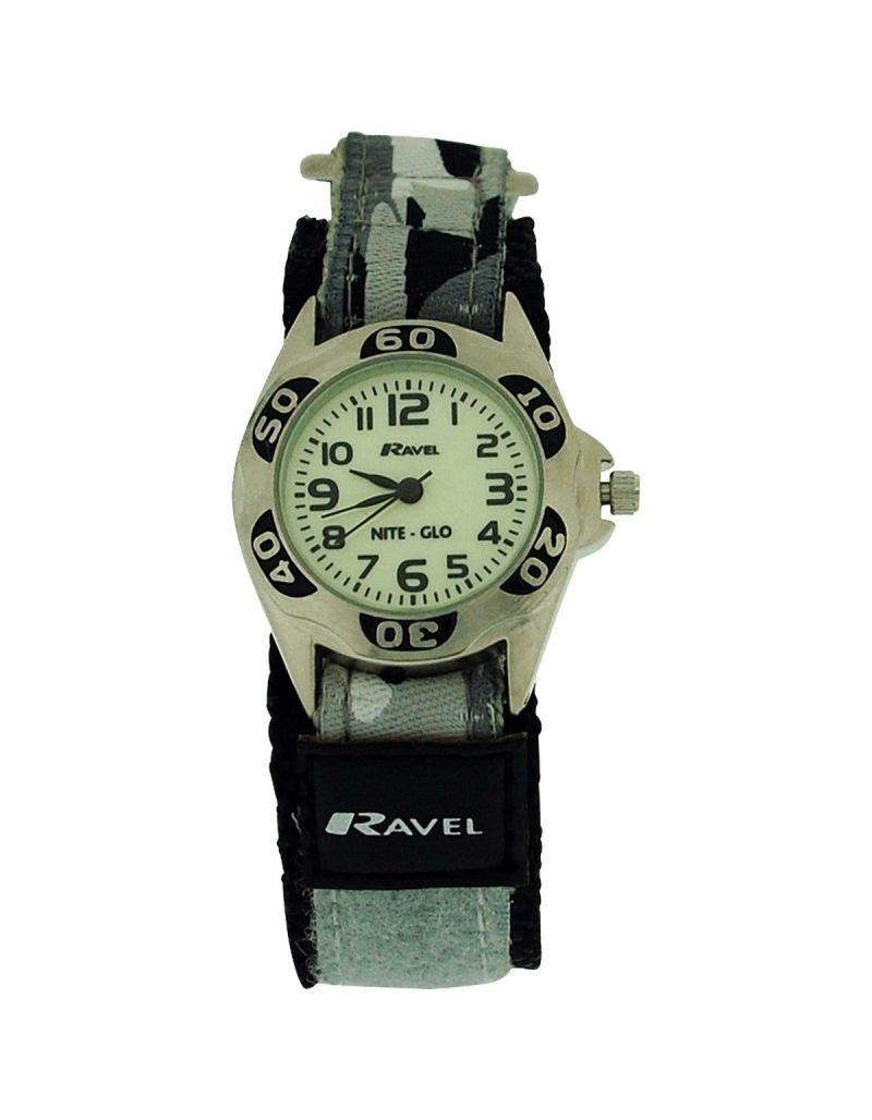 Ravel Nite-Glo Quartz Luminous Dial Grey Camouflage Easy Fasten Watch R1707.3