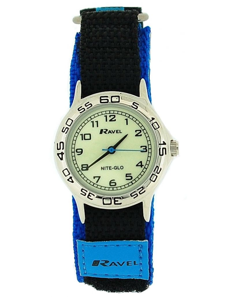 Ravel Nite-Glo Quartz Luminous Dial Blue & Black Easy Fasten Boys Watch R1708.6