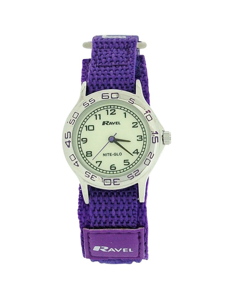 Ravel Girls Nite-Glo Quartz Luminous Dial & Purple Easy Fasten Watch R1708.7