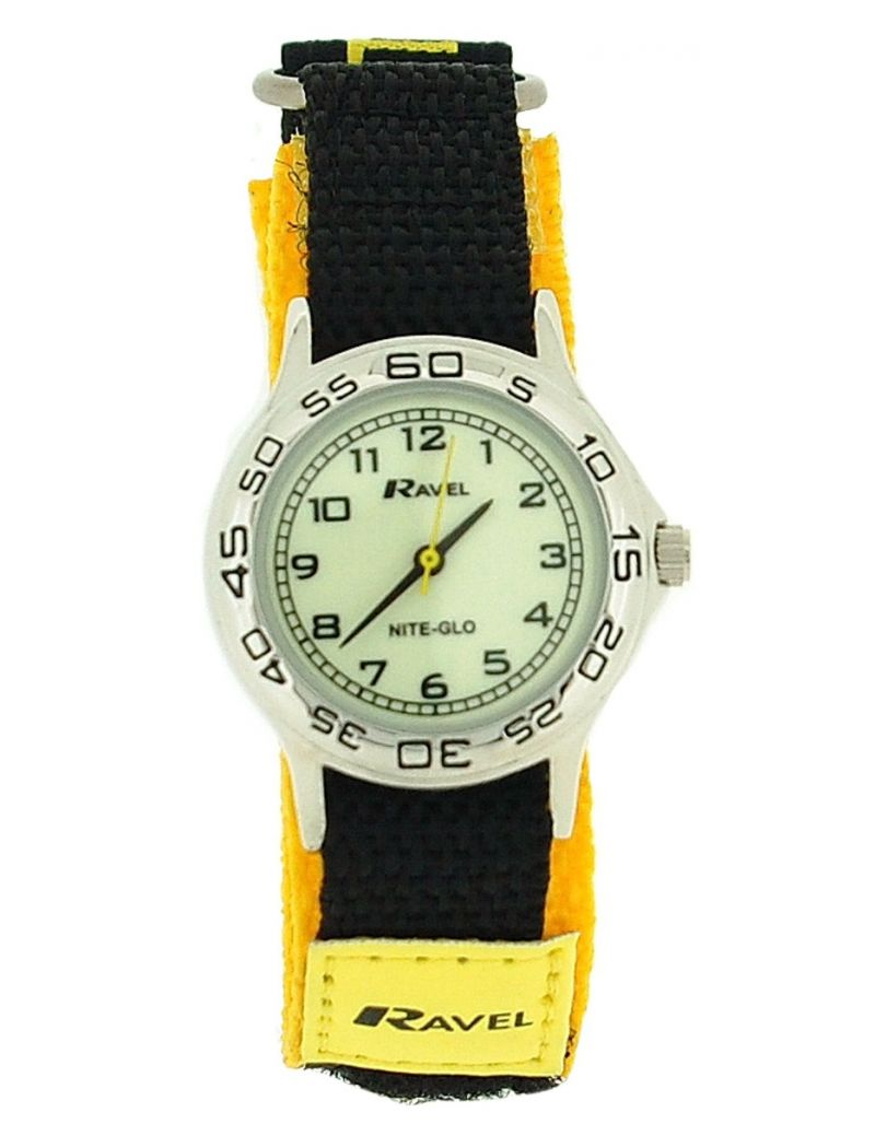 Ravel Nite-Glo Quartz Luminous Dial Yellow Black Easy Fasten Boys Watch R1708.9
