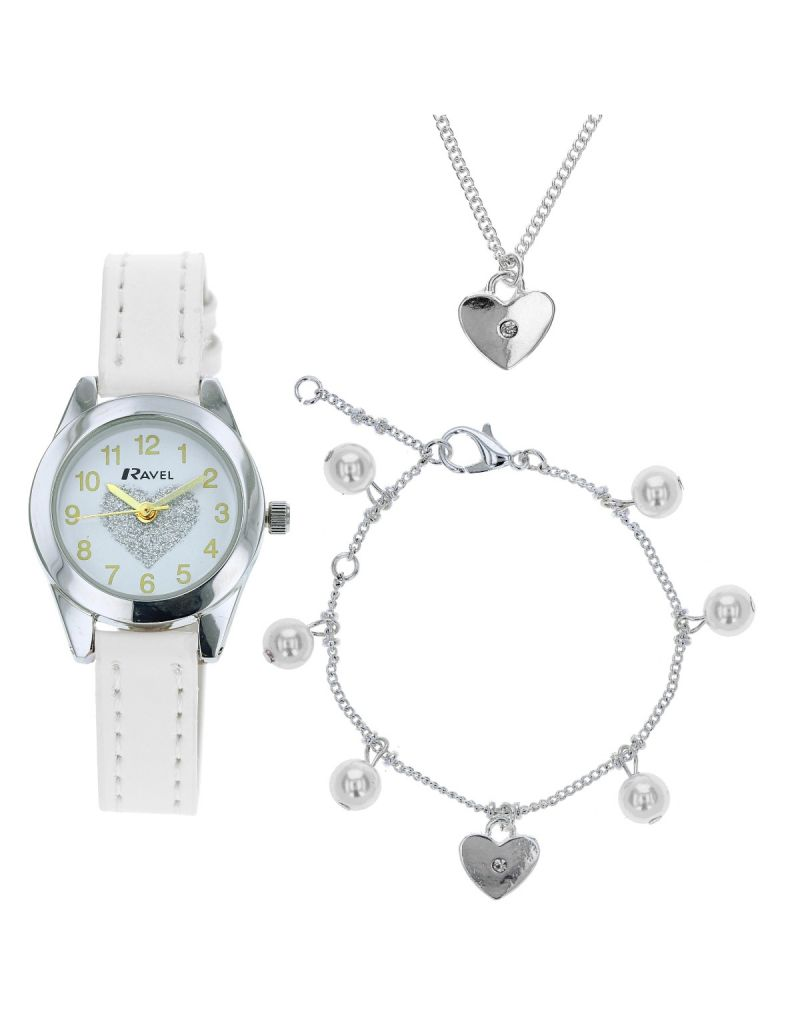 Ravel Children's 'Little Gems' Bridesmaid's Watch and Silver Plated Jewellery Set R2226