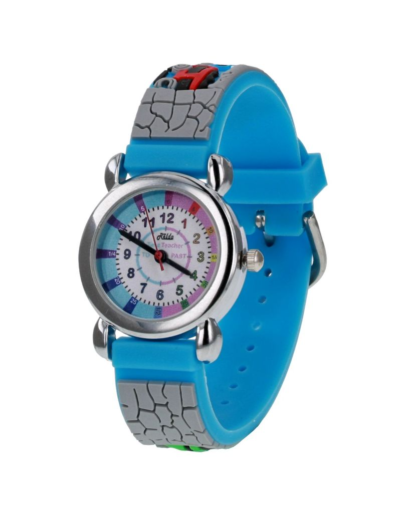 Relda Boy's-Children Time Teacher 3D Train Silicone Strap Watch + Telling The Time Award
