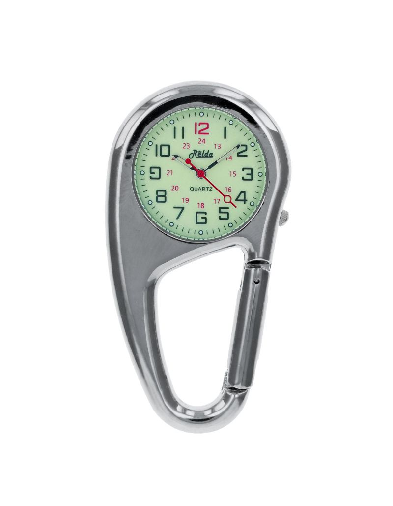 Relda Silvertone Metal Clip on Carabiner FOB Watch Green Luminous Dial Ideal For Doctors Nurses REL139