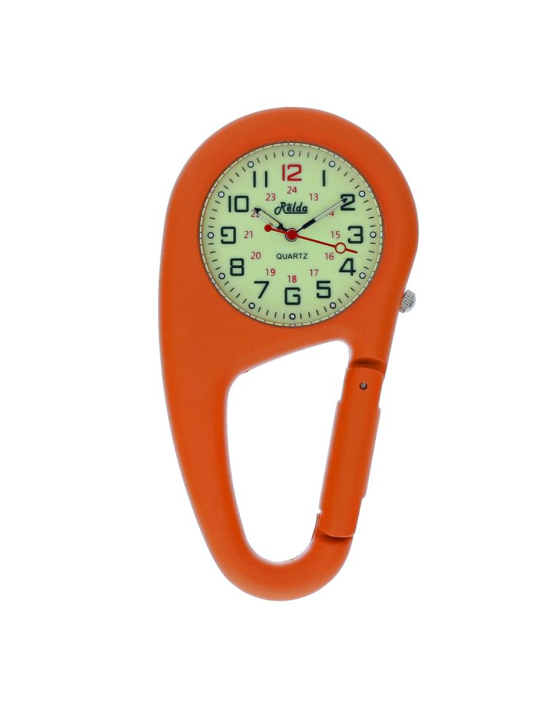 Relda Orange Metal Clip on Carabiner FOB Watch Green Luminous Dial Ideal For Doctors Nurses REL144