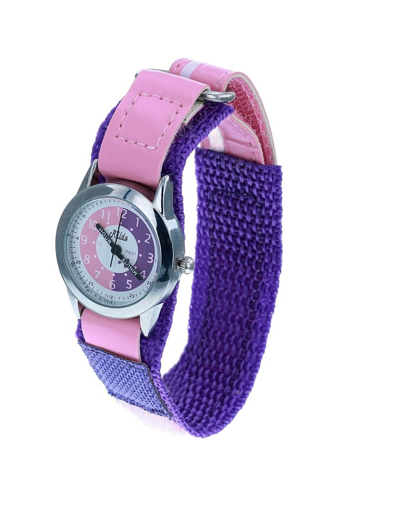 Kids Time Teacher Pink/ Purple Easy Fasten Children Girls To Watch + Award Relda