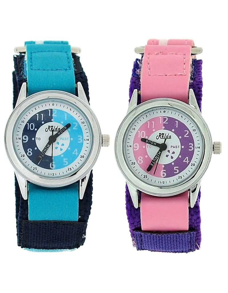 2 X Relda Time Teacher Blue / Pink Easy Fasten Girl Kids Watch Gift Set + Award