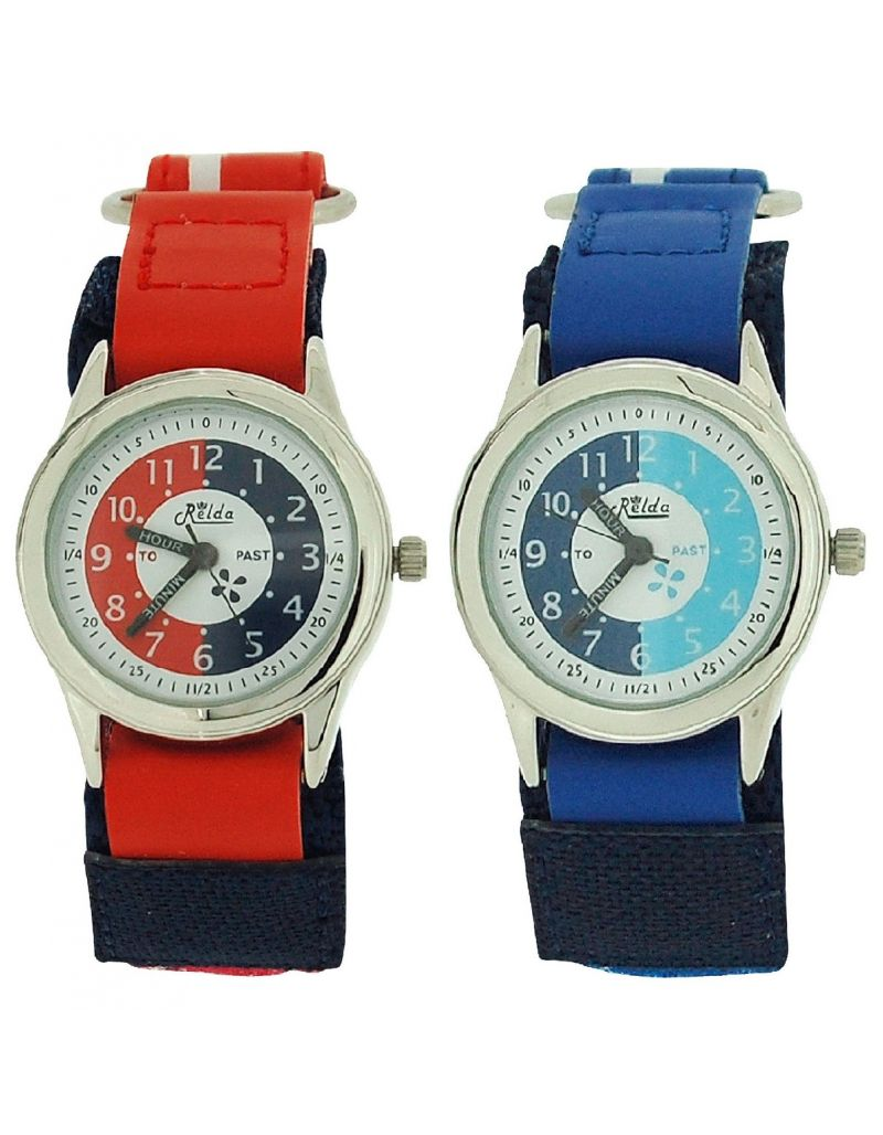 2 X Relda Time Teacher Red / Blue Easy Fasten Boys Kids Watch Gift Set + Award