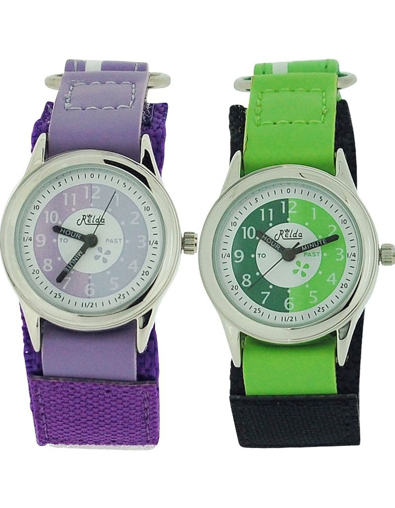 2 X Relda Time Teacher Lilac /Green Easy Fasten Boys Kids Watch Gift Set + Award