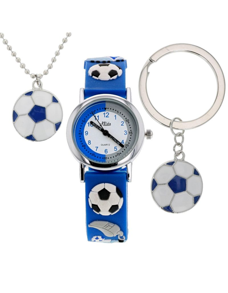 Relda Boys - Kids Football Watch, Dog Tag Necklace & Keyring Gift Set REL49