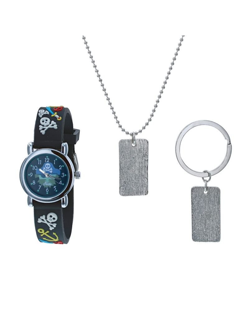Relda Boys Skull & Crossbones Watch, Dog Tag Necklace & Keyring Gift Set REL50