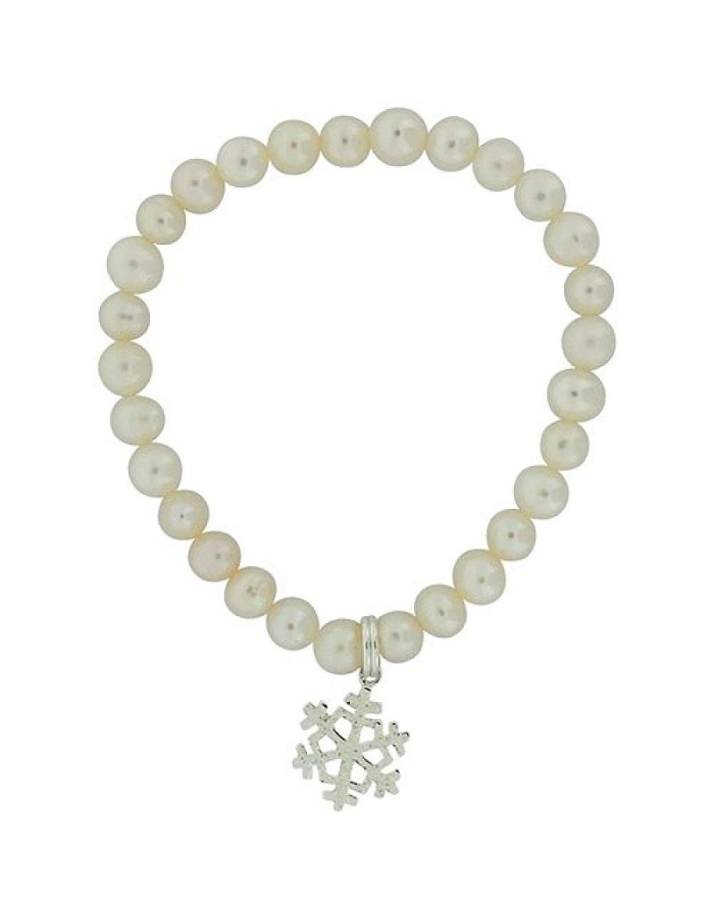 Jo For Girls Freshwater Cultured Pearl (5-6mm) AB Snowflake Charm Bracelet 5""