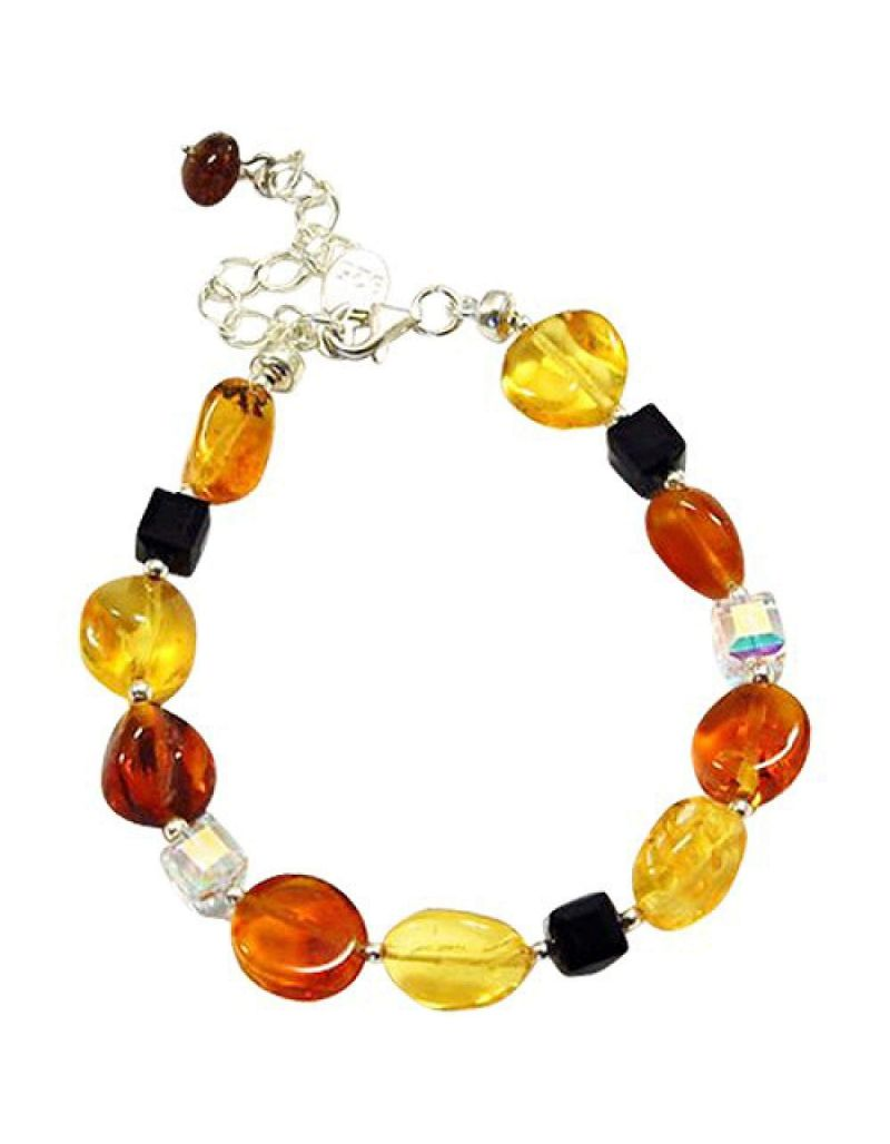 The Olivia Collection Sterling Silver Amber and Crystal Bracelet