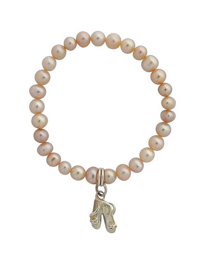 Jo For Girls Pink Freshwater Cultured Pearl (4mm) Ballet Slipper Charm Bracelet