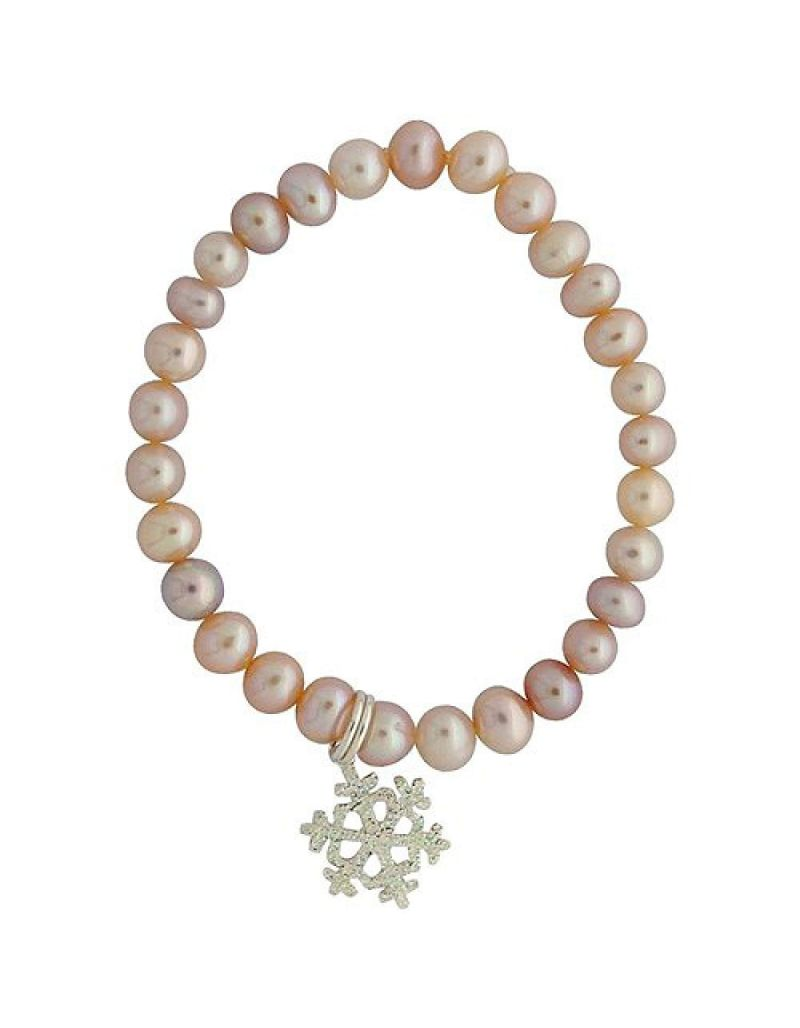 Jo For Girls Pink Freshwater Cultured Pearl (4-5mm) Snowflake Charm Bracelet