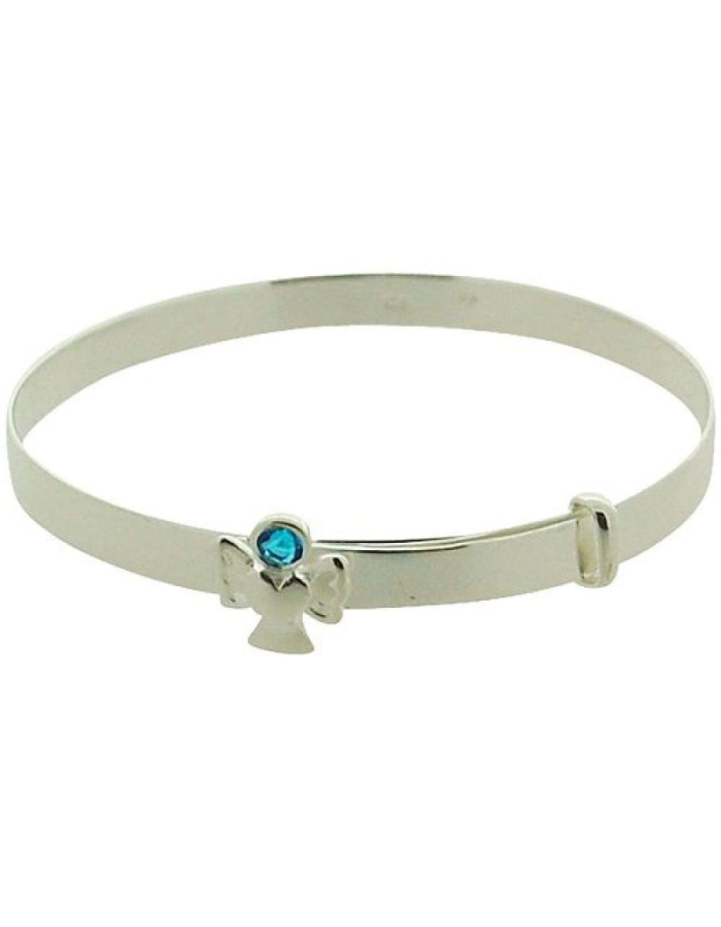 Jo For Girls Sterling Silver March Light Blue Simualted Birthstone Angel Bangle