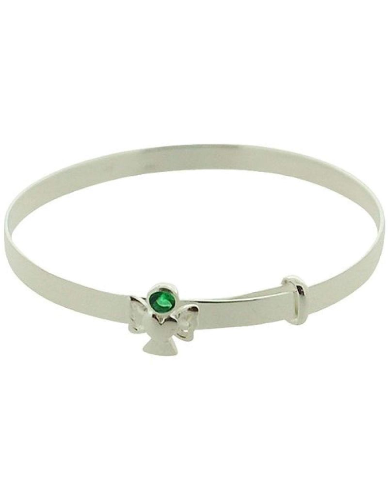 Jo For Girls Sterling Silver May Green Simulated Birthstone Angel Bangle