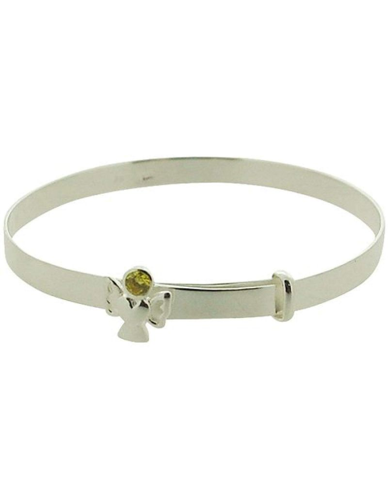 Jo For Girls Sterling Silver November Yellow Simulated Birthstone Angel Bangle