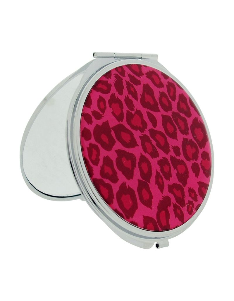 FMG Silvertone Metal Mirror Pink Cheetah Print Designed Cover With True & Magnification Image SC1428