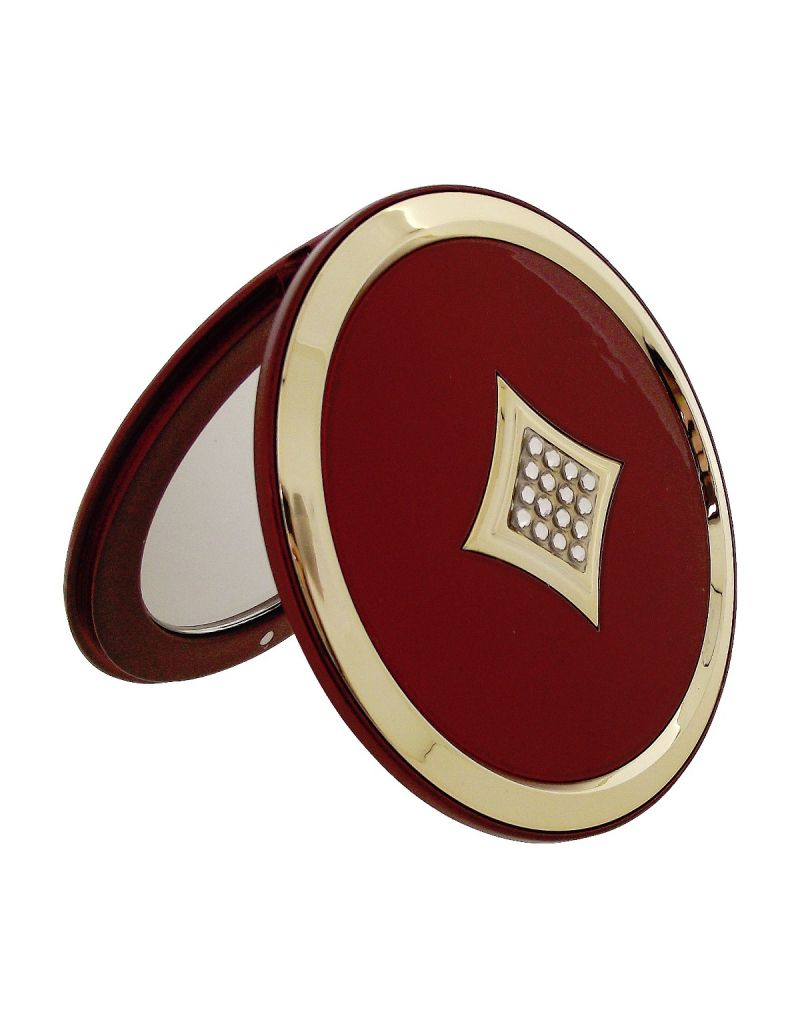 FMG Round 5x Magnification Compact Mirror Made With Swarovski Crystals, in a Presentation Box (Red)