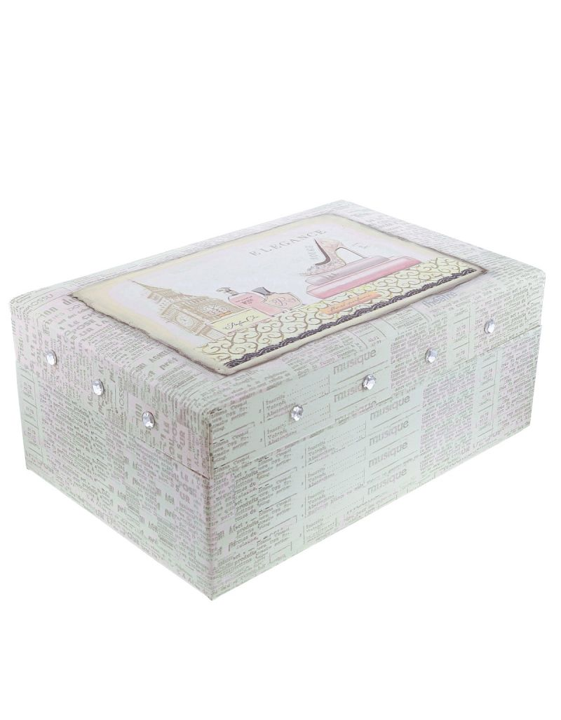 FMG Wholesale  - Quantity of 5 Elegance Two Tiered Jewellery Box With Mirror SC1708 X 5