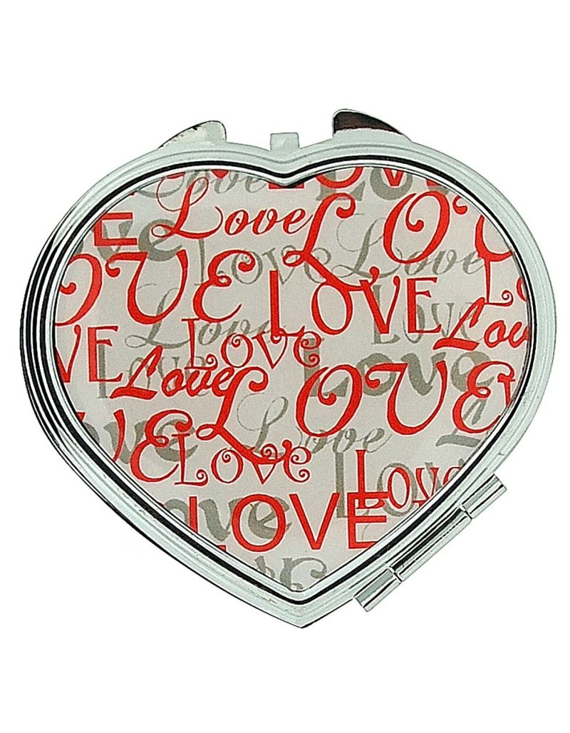 FMG Silvertone Metal Heart Shaped Compact Mirror With The Word Love On Cover SC604