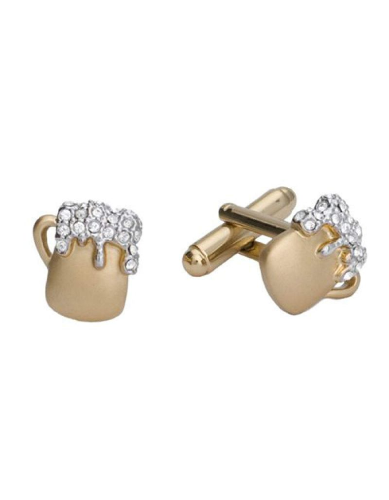 "Annaleece Goldtone ""Beer Mug"" Cufflinks Made With Swarovski Crystals"