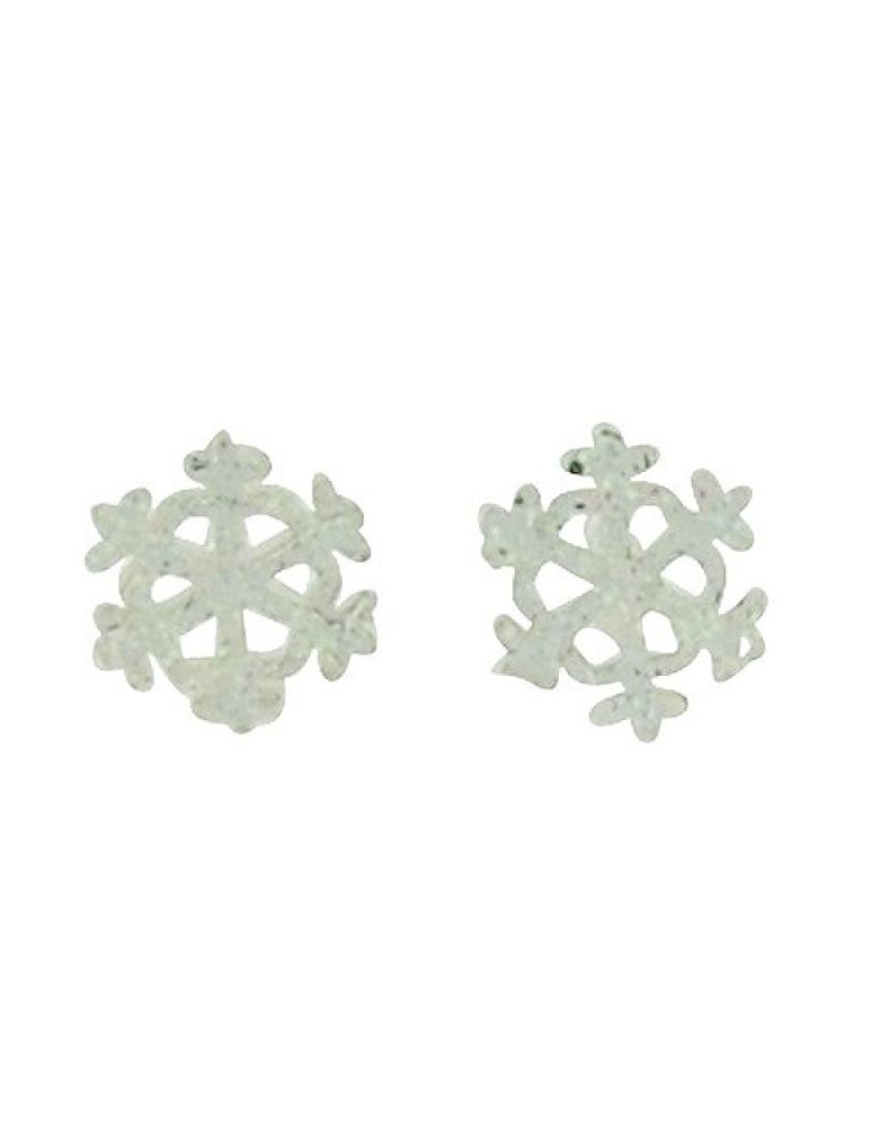 Jo For Girls Sterling Silver AB Glittery Snowflake Stud Earrings 9mm
