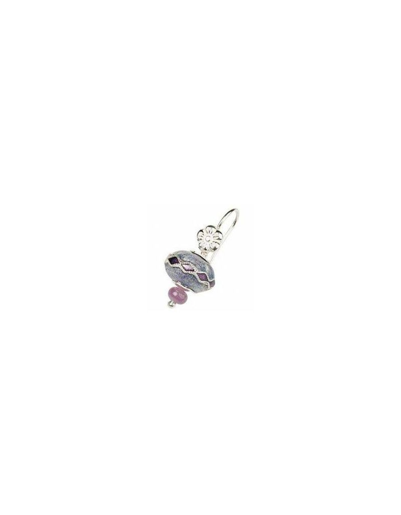Toc Beadz Sterling Silver 10mm Lilac Diamond Bead Drop Earrings