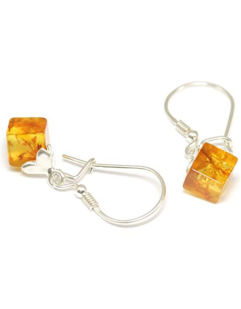 The Olivia Collection Silver Cube Amber Drop Earrings