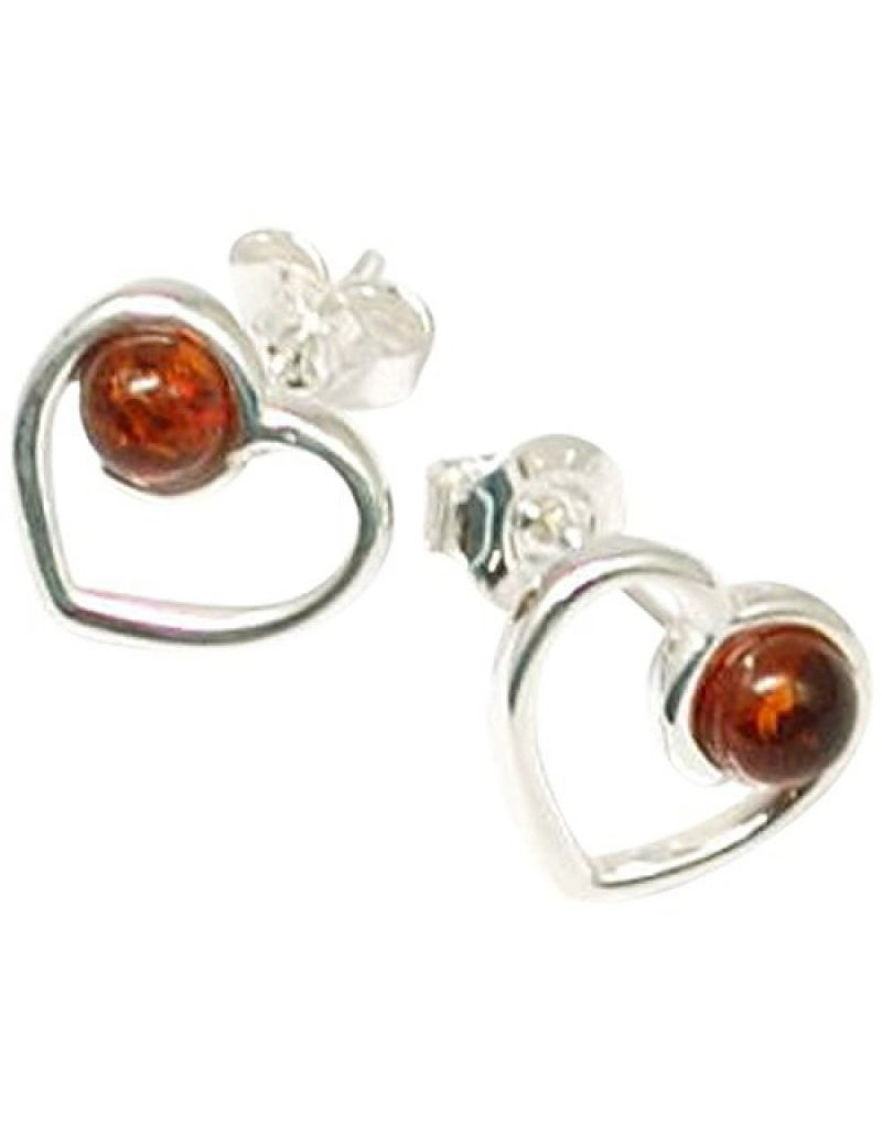 The Olivia Collection Sterling Silver Amber Heart Stud Earrings
