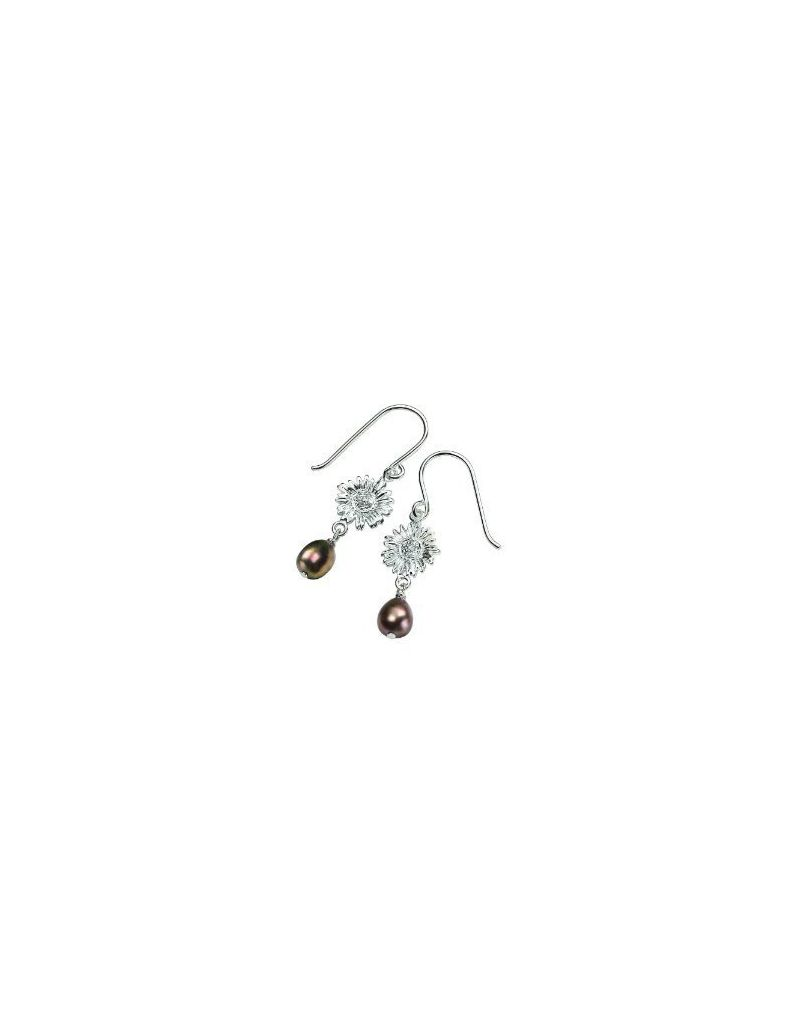 Elements 925 Silver Freshwater Pearl and Daisy Crystal Earrings PE3991B
