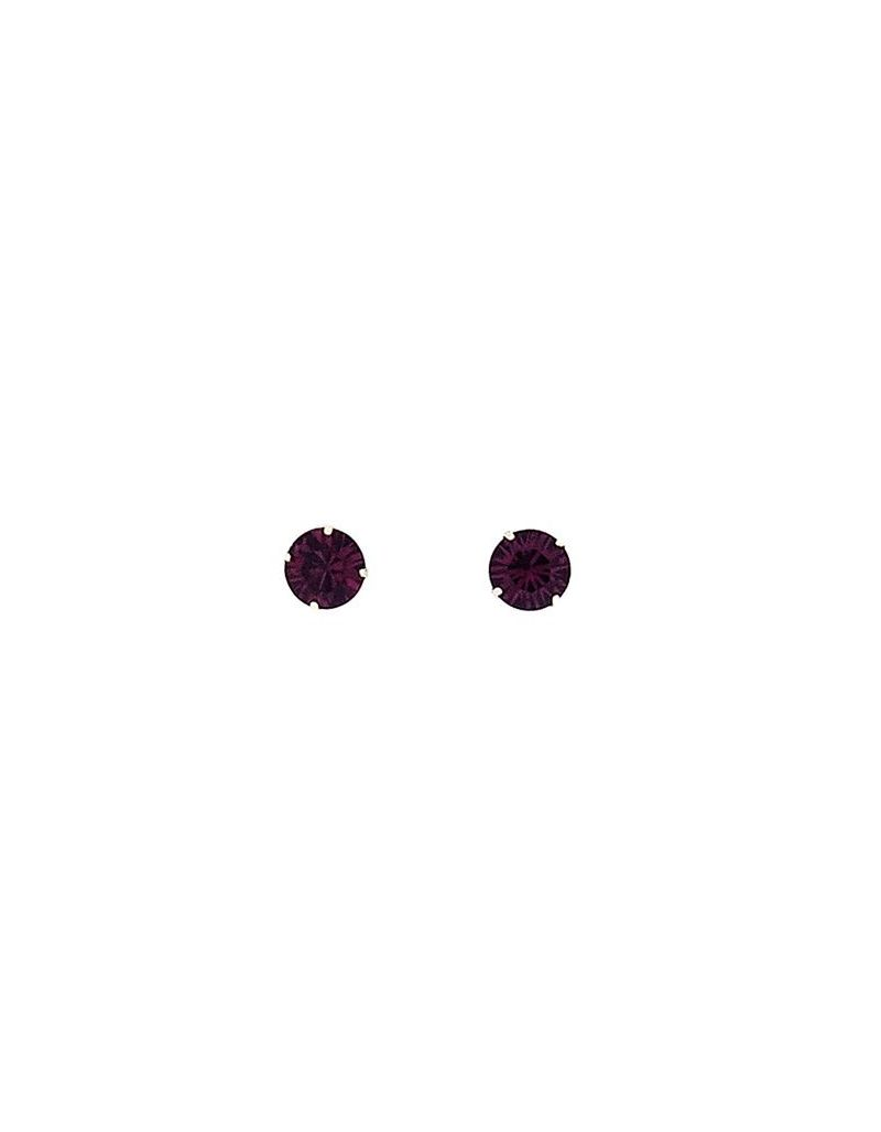 925 Sterling Silver Purple Crystal 6mm Solitaire Stud Earrings by TOC