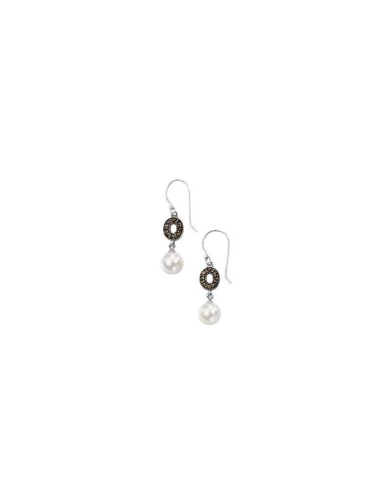 Elements Marcasite Crystal and Imitation Pearl Drop Earrings, 925 Silver