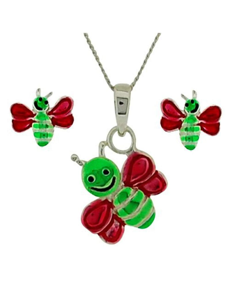 "Jo For Girls Sterling Silver ""Uggle Bug"" Stud Earring & Pendant Necklace 14"" Set"