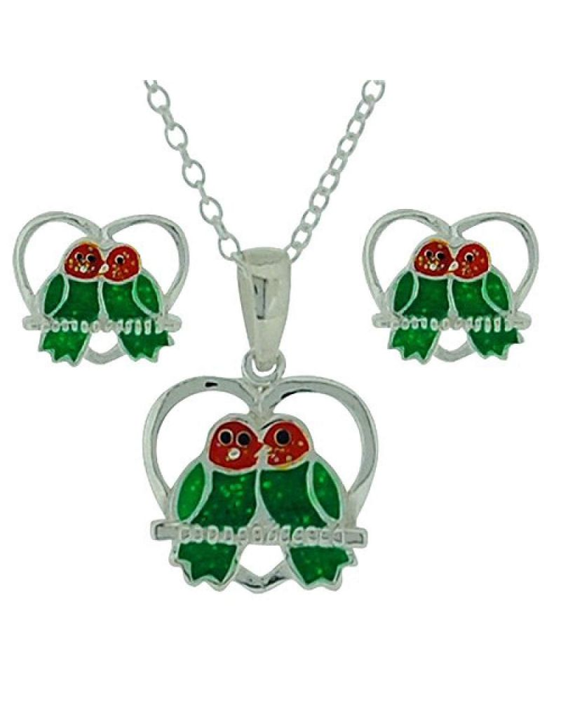 "Jo For Girls Sterling Silver ""Lovebirds"" Stud Earring & Pendant Necklace 14"" Set"