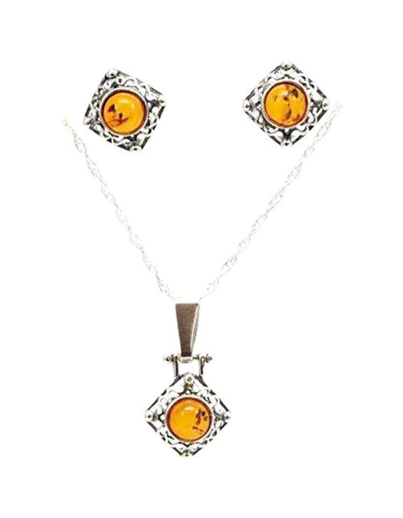 The Olivia Collection Sterling Silver Amber Pendant and Earrings Set