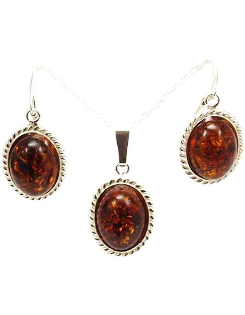 The Olivia Collection Sterling Silver Amber Oval Pendant and Drop Earrings