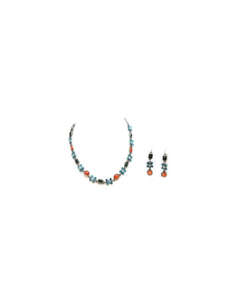 The Olivia Collection Blue/Green and Amber Necklace & Drop Earrings Set