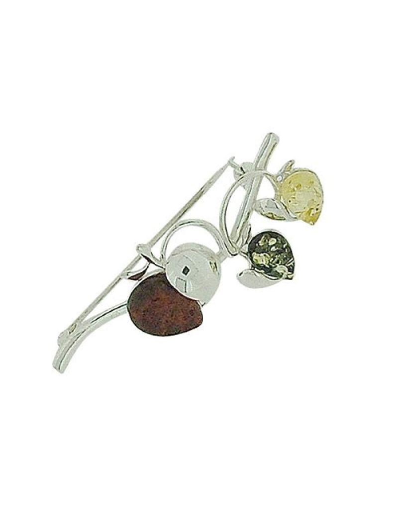TOC Sterling Silver Amber Multicolour 3 Apples On A Branch Brooch Pin