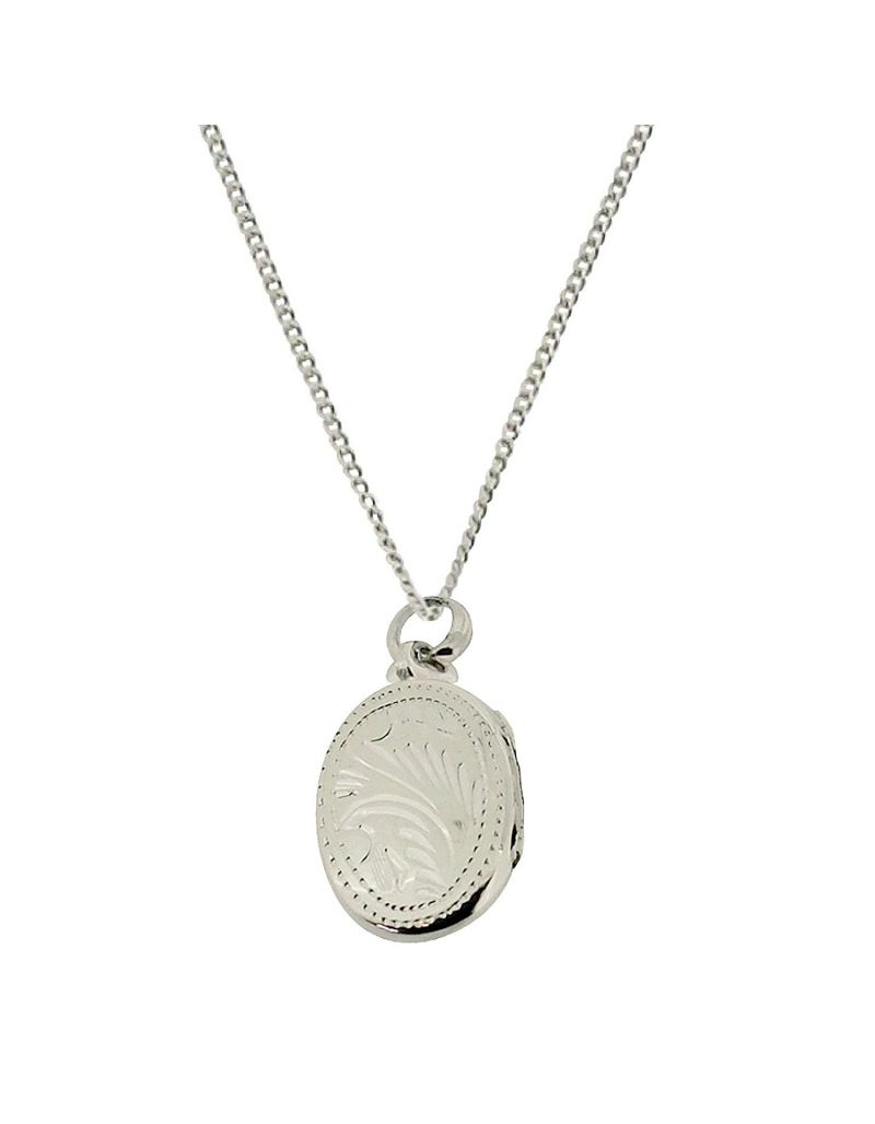 """The Olivia Collection Sterling Silver 20mm Oval Engraved Locket on 18"""" Chain"""