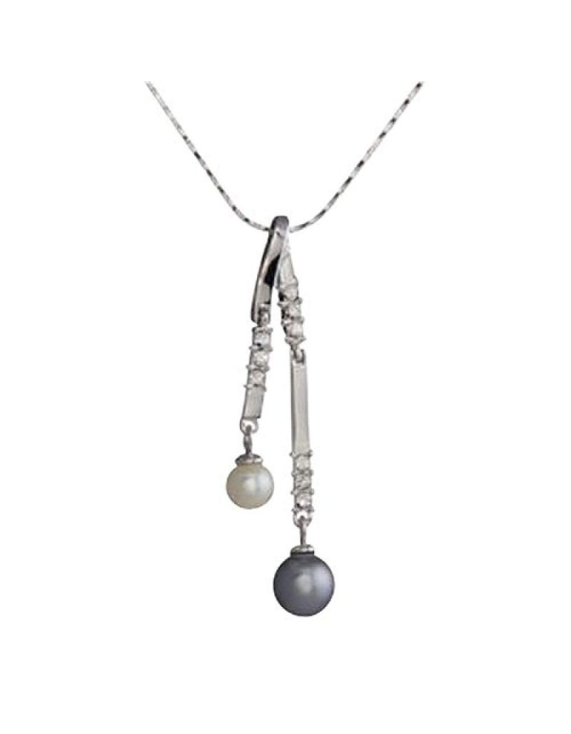 Annaleece Silvertone Drop Pendant W/ Crystals & Simulated Pearls