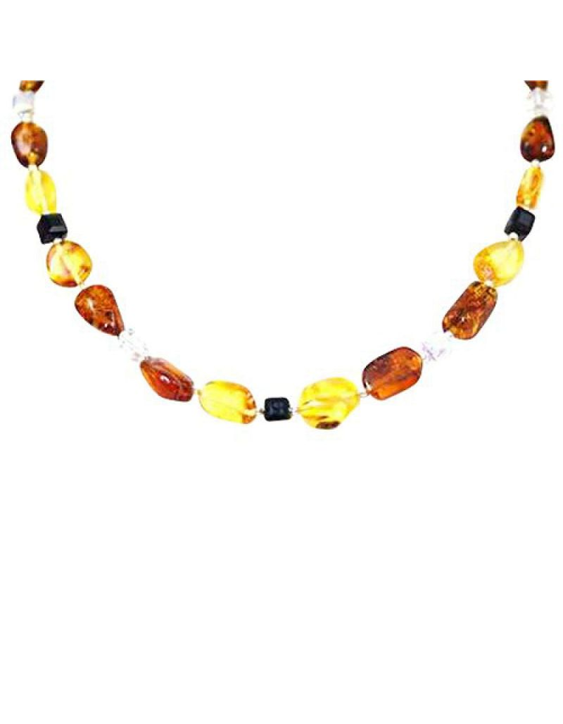 The Olivia Collection Sterling Silver Amber and Crystal Necklace