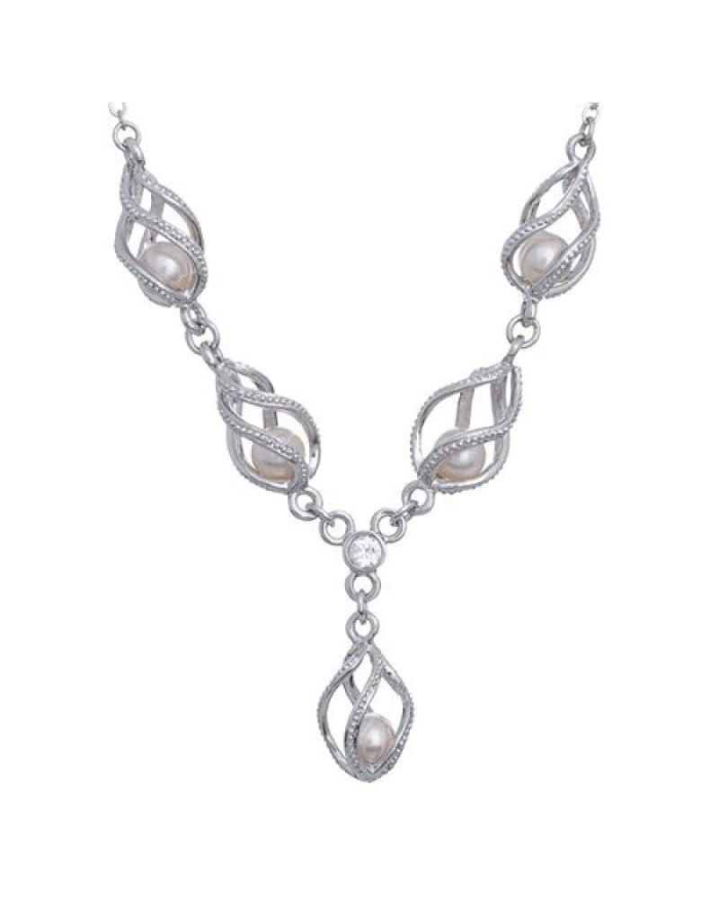"Annaleece 16""+ Necklace With Crystals & Simulated Pearls"