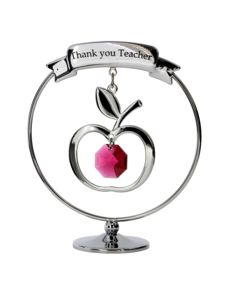 """Crystocraft Chrome Plated """"Thank You Teacher"""" Mobile Ornament Made With Swarovski Crystals SP191"""