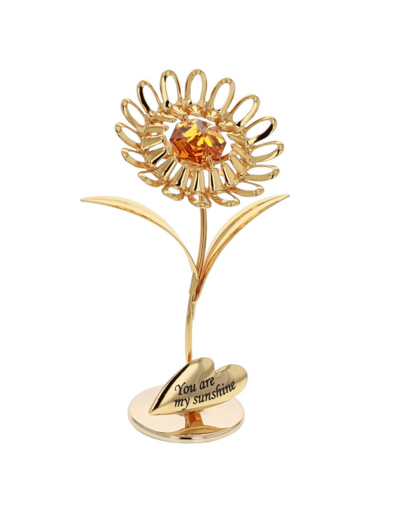 Crystocraft 24k Gold Plated Sunflower- YOU ARE MY SUNSHINE Ornament - Made with Swarosvky crystals