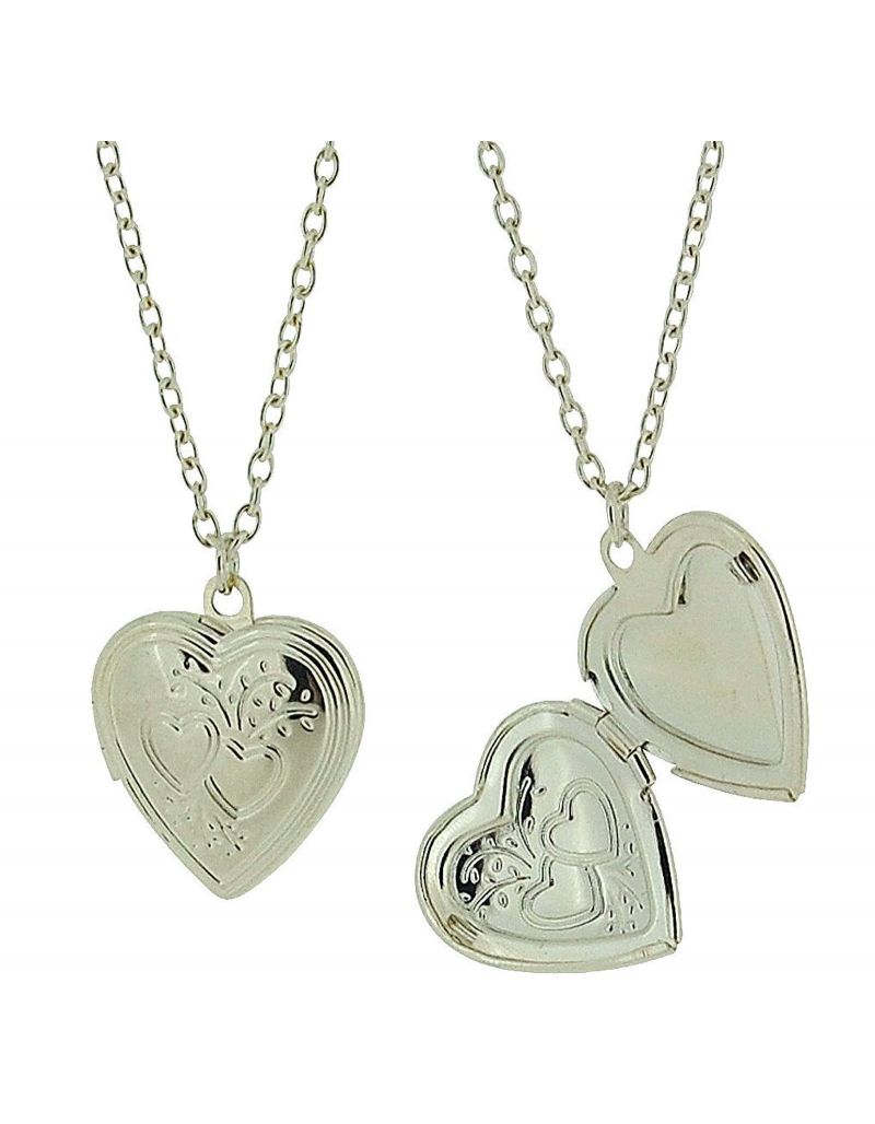 """Silvertone Heart Locket Pendant on 18"""" Chain - Pack of Two"""